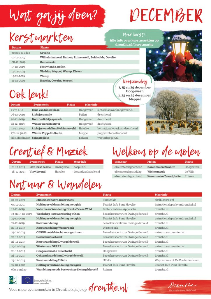 Evenementenkalender Drenthe - December 2019